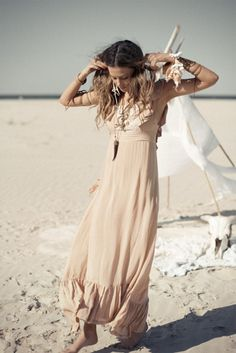 Boho chic beach style modern hippie grunge look. FOLLOW http://www.pinterest.com/happygolicky/the-best-boho-chic-fashion-bohemian-jewelry-gypsy-/ for the BEST Bohemian fashion trends in clothing  jewelry.