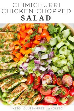 This fresh Chimichurri Chicken Chopped Salad is loaded with lettuces, cherry tomatoes, cucumber, bell pepper, red onions and grilled chicken. It's a complete meal to enjoy this summer! Healthy Spring Recipes, Healthy Salad Recipes, Lunch Recipes, Cooking Recipes, Cooking Tips, Keto Recipes, Chimichurri Chicken, Chopped Salad, Bell Pepper