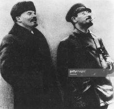 Russian revolutionaries Vladimir Ilyich Lenin (1870 - 1924), and Leon Trotsky…