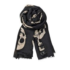 Beck Sonder Gaard Black Skull Print Large Silk Scarf (525 CNY) found on Polyvore  Skull Scarves骷髅围巾20121213