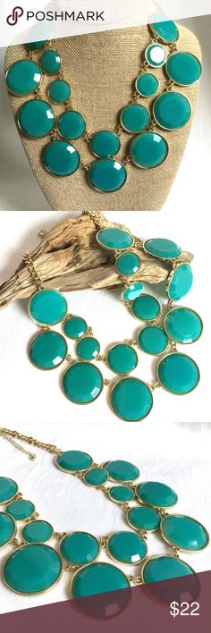 3/$30! Teal Green Bubble Necklace **3/$30 DEAL! Bundle ANY 3 jewelry items in my boutique, and I will make you an offer of $30! Bundle more for an even greater discount!**    New with Tags Statement Necklace!    - Colors: teal green; gold tones  - Adjustable length necklace     Item # - POSH79 Jewelry Necklaces