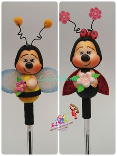 Puntera abejita y mariquita en fomy Bee Crafts, Foam Crafts, Diy And Crafts, Pencil Toppers, Clay Animals, Pasta Flexible, Decorating Coffee Tables, Animals Images, To My Daughter