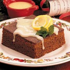 Contest-Winning Gingerbread with Lemon Sauce Recipe -I asked my mother-in-law for this recipe once I learned that this fluffy spice cake topped with tangy lemon sauce is my husband's favorite. Now I make it whenever he needs an extra-special treat. It never fails to make us both smile.