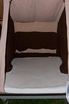 Smart diy. Ny madras til Camp-let tilskåret og beklædt med to frotté faconlagener, et på hver side #camplet #Camp-let #diy #camping
