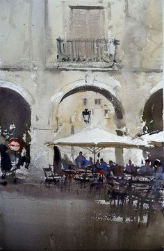 plaza by Joseph Zbukvic Joseph Zbukvic, Art Painting, Cityscape, Street Scenes, Watercolor Architecture, Watercolor Landscape, Watercolour Inspiration, Water Painting, Art World