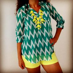 Turquoise/Yellow Outfit.