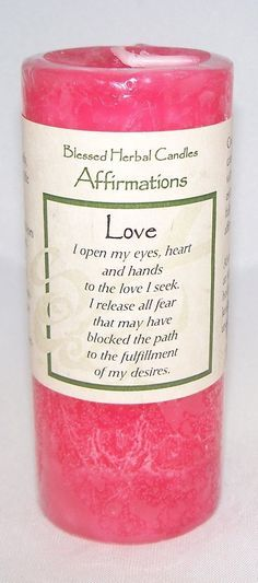 """Love Affirmation Candle A blush colored candle with a musky woods scent Size: 2"""" x 4"""" Burn Time: 40 hours in a tight fitting container, faster if burned on an open candle plate I open my eyes, heart a"""
