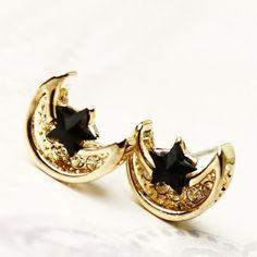 Latest Elegant Rhinestones Crescent Star Gilding Earring