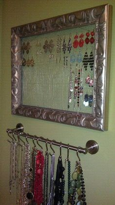 Awesome My own take on some DIY jewelry storage ideas. It's practical and attractive… My own take on some DIY jewelry storage ideas. It's practical and attractive. Jewelry Wall, Jewelry Organizer Wall, Diy Jewelry Holder, Jewellery Storage, Jewellery Display, Jewelry Drawer, Diy Jewellery, Jewlery, Necklace Holder