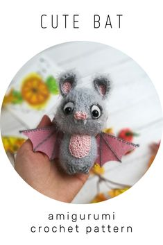 Crochet Animal Patterns, Crochet Patterns Amigurumi, Doll Patterns, Knitting Patterns, Sewing Patterns, Handmade Ideas, Handmade Toys, Cute Bat, Knitting Toys