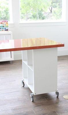 Ideas Craft Table Ideas Sewing Rooms Art Studios For 2019 Sewing Room Design, Sewing Room Storage, Craft Room Storage, Sewing Rooms, Fabric Storage, Craft Rooms, Scrapbook Room Organization, Craft Organization, Scrapbook Rooms