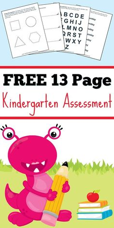 Download this free 13 page Kindergarten Assessment to help review basic materials with your children before they start Kindergarten work.
