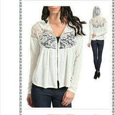 """Lace zip up hooded cardigan sweater jacket hoodie Lightweight New  Ivory zipper closure. fabric is stretchy  and upper half part is made of sheer mesh Lace as show in photos. Luxuriosly soft strethcy Knitted and lace fabric.  NOTE* the color in photos may vary brighter /lighter than the atctual item. total length:23""""  *PRICE IS FIRM UNLESS BUNDLED Boutique  Sweaters"""