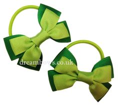 Emerald green and lime green grosgrain ribbon hair bows on thick bobbles - £2.50 a pair at www.dreambows.co.uk  green hair bows, green hair accessory bows, school hair bows, school bobbles, hair bobbles, hair elastics, girls bobbles, handmade bows, making hair bows, craft with ribbon, ribbon hair bows