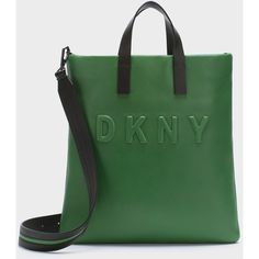 DKNY Neoprene Bonded Lamb Nappa Leather Tote ($348) ❤ liked on Polyvore featuring bags, handbags, tote bags, green tote purse, handbags totes, neoprene purse, neoprene handbags and dkny purses