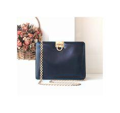 Ferragamo Bag Gancini Black Leather Chain Shoulder handbag authentic vintage purse by hfvin on Etsy