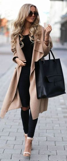 #Winter #Outfits / Beige Cardigan Coat - Ripped Black Pants #womendressesclassy