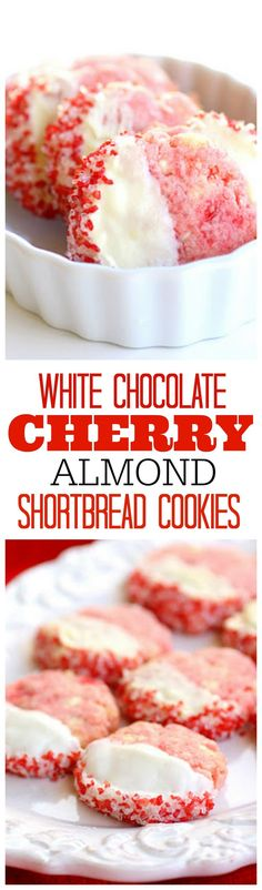 Shortbread Cherry Almond Cookies so good and so festive. the-girl-who-ate- Oreo Dessert, Cookie Desserts, Cookie Recipes, Dessert Recipes, Christmas Desserts, Christmas Baking, Holiday Baking, Christmas Cookies, Christmas Decorations