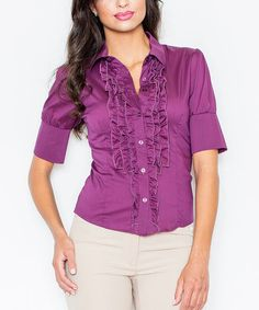 Look at this #zulilyfind! Eggplant Ruffle Button-Up Top #zulilyfinds