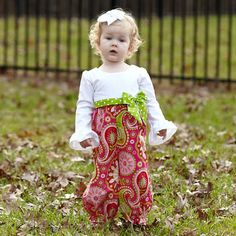 Baby Girls White Corduroy Hot Pink Paisley Romper – Lolly Wolly Doodle
