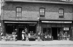 C.W. Summers & Sons Grocers and hardware store exterior, 411 Hamilton Road - c 1920