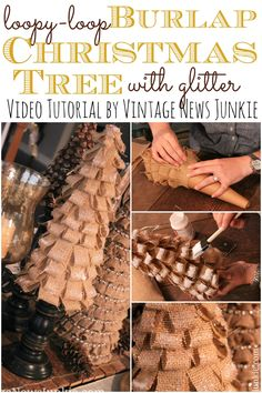 Loopy Burlap Christmas Tree with Glitter {Video Tutorial} #12DaysofTrees