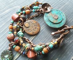 Old Verdigris Coin Bracelet in Turquoise and Southwest Palette with Asian Copper Charm. Clay Jewelry, Metal Jewelry, Jewelry Crafts, Jewelry Art, Jewelry Bracelets, Jewelery, Jewelry Design, Jewelry Ideas, Bangles