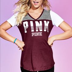 Large PINK Perfect V-neck Tee $25 on Merc PINK Victoria's Secret Tops Tees - Short Sleeve