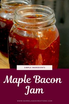 As a spread or dip, the combination of whiskey, bacon, and maple create the most delicate balance of sweet & salty in this whiskey maple bacon jam recipe. Maple Bacon Onion Jam Recipe, Bacon Jam Recipe Canning, Bacon Tomato Jam, Canning Recipes, Jelly Recipes, Jam Recipes, Holiday Recipes, Bacon Recipes, Bacon Jam Burger