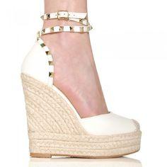 nie - Sandały Białe Espadryle Na Sznurkowej Koturnie