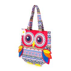 """<P>This bright and cheery multicolored owl mini tote is a wise and colorful choice. The owl has button eyes, felt wings, and a daisy by one eye. Double handles and red inside lining.</P><UL><LI><B>Online only item</B><LI>10""""L x 9 1/4""""H x 2 1/2""""W</LI></UL>"""
