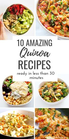 Tomato & Basil Quinoa Risotto 10 healthy quinoa recipes that are easy and you can make in 30 minutes or less. Including many healthy salad recipes with quinoa and delicious vegetarian and vegan quinoa dinner options! Clean Eating Vegetarian, Clean Eating Recipes, Clean Eating Snacks, Healthy Eating, Eating Habits, Healthy Food, Healthy Tuna, Quinoa Recipes Easy, Healthy Salad Recipes