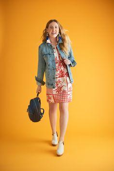 Shop Coclico Colorblock Clogs, Cobalt Leather Backpack, Printmaker Shirtdress, Denim Trucker Jacket, Cobalt Tassel Earrings and more