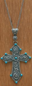 Montana Silversmiths Turquoise Passion Flower Cross Pendant Necklace