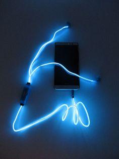 Светящиеся наушники Glow с EL свечением (синие)