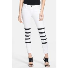 EACH X OTHER 'Mariner' Leather Strip Ankle Jeans