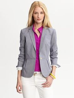 Blue stretch cotton one-button blazer