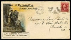 Remington Autoloading Rifle. Multicolored design on 1910 cover showing Hunter Encountering Grizzly Bear, franked with 2c Wash-Frank tied by ...