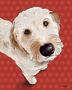 Henry Golden Doodle Pop Art Print by PopDogDesigns on Etsy Goldendoodle Art, Goldendoodles, Doodle Dog, Dog Vector, Dog Tattoos, Dog Portraits, Dog Art, Art Drawings, Illustration Art