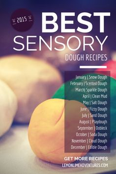 BEST Sensory Dough Recipes | An entire year of recipes! Definitely pinning this to come back to and use each month for sensory play in my class.