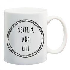 NETFLIX AND KILL #netflixandchill #mug #tea #coffee #misery #grunge #deathbeforedecaf #blackheart #illustration #shopsmall #giveaway #alternative #competition #mugs #design #win #coffeemug #christmas #stockingfiller