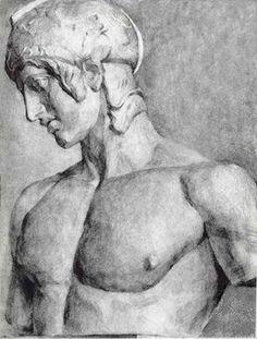 石膏像//原像デッサン習作/17→19才//28→29才/クリックで大きな画像になります: 13.マルス胸像-2 /木炭デッサン Graphite Art, Graphite Drawings, Pencil Drawings, Art Drawings, Basic Drawing, Stone Sculpture, Classical Art, Male Figure, Line Art