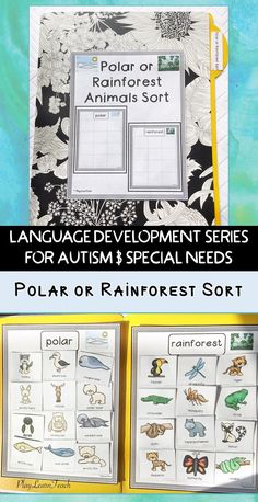 Students sort animal pictures into two categories (polar and rainforest). Perfect for students on the classes; compliments ABA and strategies. Autism Activities, Vocabulary Activities, Teaching Activities, Language Activities, Teaching Strategies, Classroom Activities, Teaching Resources, Rainforest Activities, Spring Activities