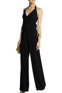 Black stretch-crepe Detachable bow-embellished buckled twill belt, two side slant pockets, two back welt pockets Concealed hook and zip fastenings at back 56% acetate, 42% viscose, 2% elastane Dry clean