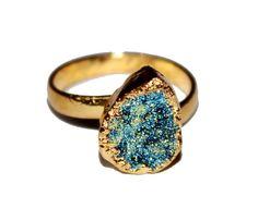 24k Gold Electroformed Blue Pear Druzy Ring by RareGemsNJewels