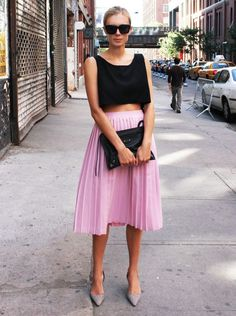 lilac pleats and black crops