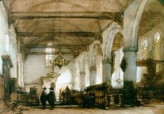Johannes Bosboom (Den Haag 1817-1891) Interieur van de Bakenesserkerk te Haarlem - Kunsthandel Simonis en Buunk, Ede (Nederland).