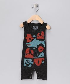 Mini Rotation - Black Ocean Life Romper