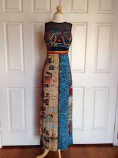 SAVE THE QUEEN Multicolored Embroidered Full Length Dress Size M Made In ITALY #SAVETHEQUEEN #Maxi