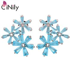 CiNily Blue Zircon Morganite Garnet Kunzite Green Quartz Silver Plated Earrings Wholesale Women Jewelry Stud Earrings FH7219-23